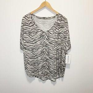 Philosophy Zebra Print Short Sleeve Modal Top XL